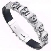 Каучуковый мужской браслет из серебра с черепами Zancan EXB 430 N