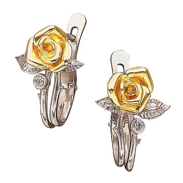 Купить недорого серьги из золота с сапфирами, жемчугом и бриллиантами.  Цены на ювелирные украшения - золотые серьги.