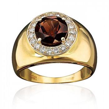 ПРЕМЬЕР кольцо из золота с бриллиантами и раухтопазом