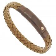 Мужской кожаный браслет с вставкой золота BORSARI BRSTPE004