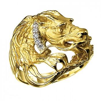 ДРАКОН кольцо из золота с бриллиантами