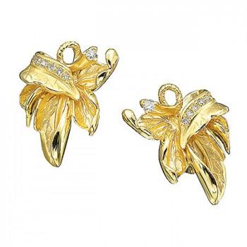 КЛЕНОВЫЙ ЛИСТ серьги из золота с бриллиантами