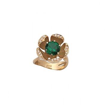 ЦВЕТЫ кольцо из золота с изумрудом и бриллиантами