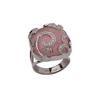 ФЛИРТ кольцо из золота с розовым кварцем и бриллиантами