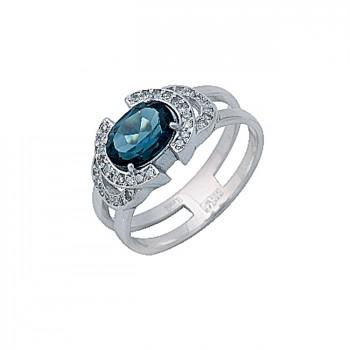 ВОСТОРГ кольцо из золота с бриллиантами и топазом