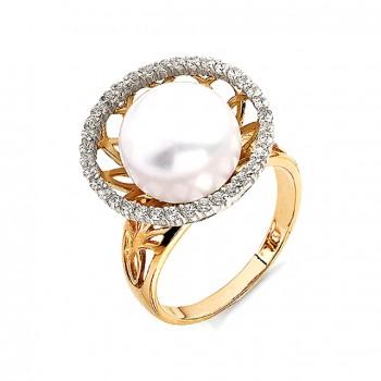 ЖЕМЧУЖНЫЙ ПУТЬ кольцо из золота с жемчугом и фианитами