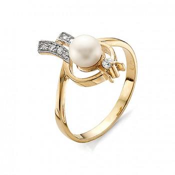 КАСПЕР кольцо из золота с жемчугом и фианитами