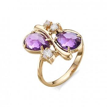 ВАЛЕТ кольцо из золота с аметистами и фианитами