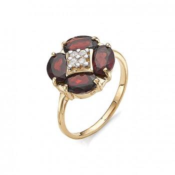 ФЕЛИЦИЯ кольцо из золота с гранатами и фианитами