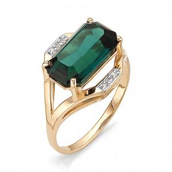 ФИЛАДЕЛЬФИЯ кольцо из золота с изумрудом и фианитами
