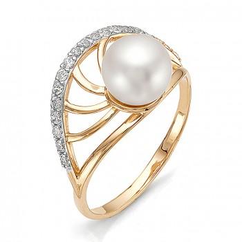 ЖЕМЧУЖНАЯ АЛЛЕЯ кольцо из золота с жемчугом и фианитами