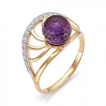 АЛЛЕЯ кольцо из золота с аметистом и фианитами