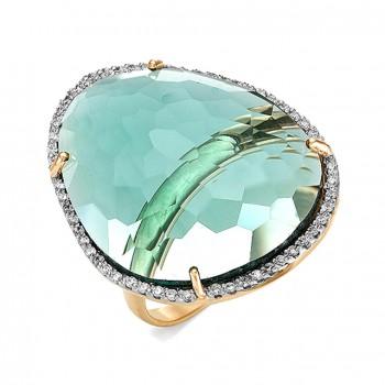 НИАГАРА кольцо из золота с зеленым кварцем и фианитами