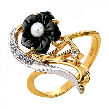 ЧЁРНЫЙ ЦВЕТОК кольцо из золота с эмалью, жемчугом и фианитами