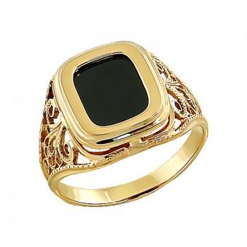 УРАН мужское кольцо, печатка из золота с агатом