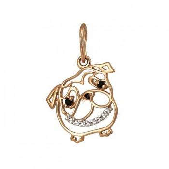 СОБАКА МОПС подвеска из золота с фианитами - символ наступающего года