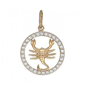 СКОРПИОН подвеска — гороскоп из золота с фианитами