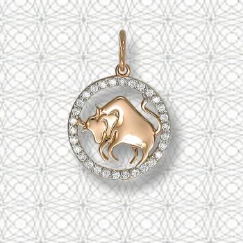 ТЕЛЕЦ подвеска — гороскоп из золота с фианитами