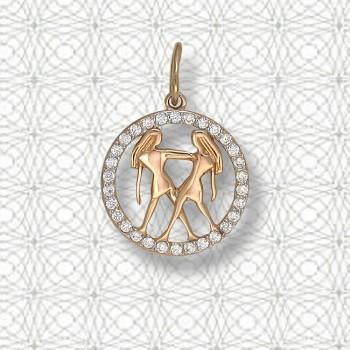 БЛИЗНЕЦЫ подвеска — гороскоп из золота с фианитами
