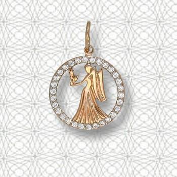 ДЕВА подвеска — гороскоп из золота с фианитами