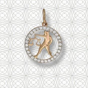 ВЕСЫ подвеска — гороскоп из золота с фианитами