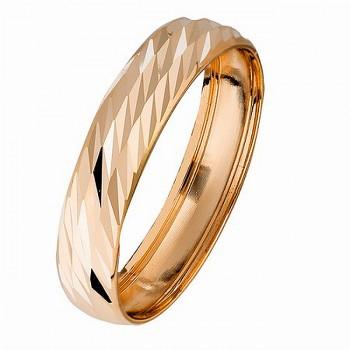 ОБРУЧАЛЬНОЕ бухтированное кольцо из золота с алмазной гранью
