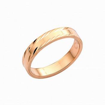 ОБРУЧАЛЬНОЕ пустотелое кольцо из золота с алмазной гранью