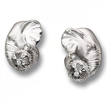 СЛОНЫ серьги из серебра с фианитами