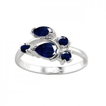 МАГИЯ НОЧИ кольцо из серебра с сапфиром