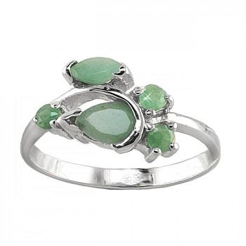 УТРЕННЯЯ РОСА кольцо из серебра с изумрудом