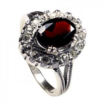 КЛАССИКА ВИС серебряное кольцо с гранатом и фианитами