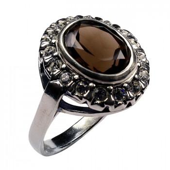МОНПЛЕЗИР серебряное кольцо с раухтопазом и фианитами