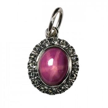 МОНПЛЕЗИР серебряная подвеска с розовым звёздчатым сапфиром и фианитами