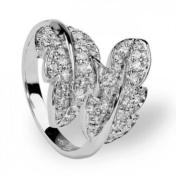 ЛИСТОПАД кольцо из серебра с фианитами
