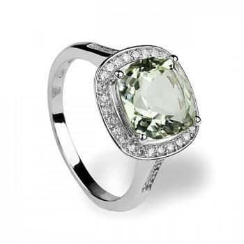 АРОМАТ ВЕСНЫ кольцо из серебра с фианитами и зелёным аметистом