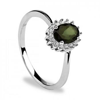 КОРОЛЕВСКИЙ ЗЕЛЁНЫЙ кольцо из серебра с фианитами и турмалином