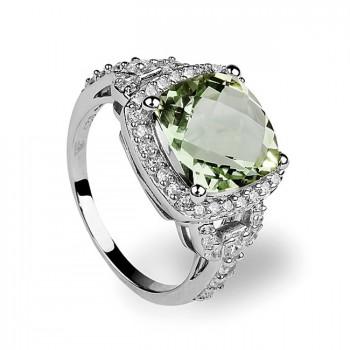 ЛЕСНАЯ ПОЛЯНА кольцо из серебра с фианитами и зелёным аметистом