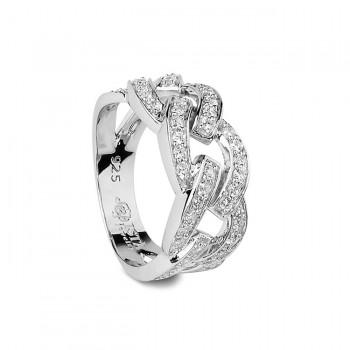 ЗВЕНЬЯ кольцо из серебра с фианитами