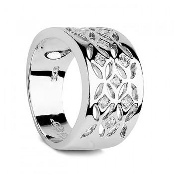ЦВЕТОЧНЫЙ УЗОР кольцо из серебра с фианитами