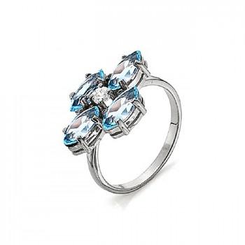 ФАНТАЗИЯ кольцо из серебра с топазом и фианитами