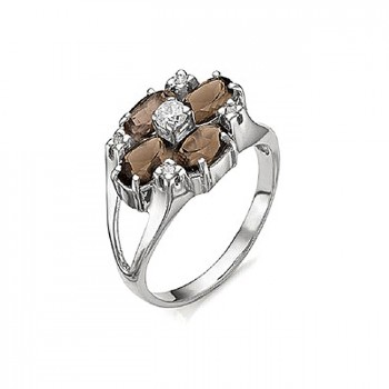 ДЖОРДЖИЯ кольцо из серебра с раухтопазом и фианитами