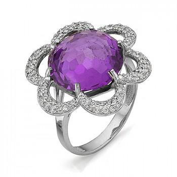 КОСМЕЯ кольцо из серебра с аметистом и фианитами