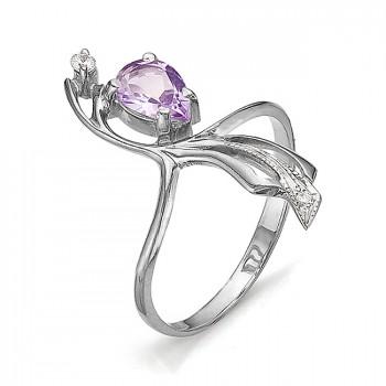 ИЗЯЩЕСТВО кольцо из серебра с аметистом и фианитами