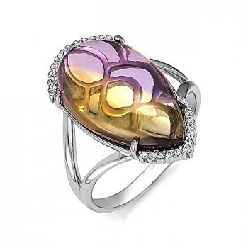 КАННЫ кольцо из серебра с аметрином и фианитами