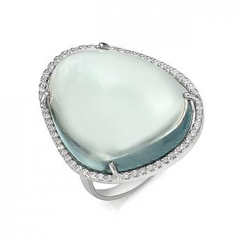 ДЖЕРСИ кольцо из серебра с аквамариновым кварцем и фианитами
