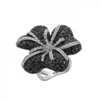 ПИОН серебряное кольцо с фианитами