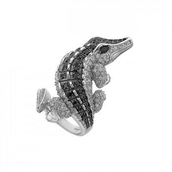 КРОКОДИЛ ДАНДИ серебряное кольцо с фианитами