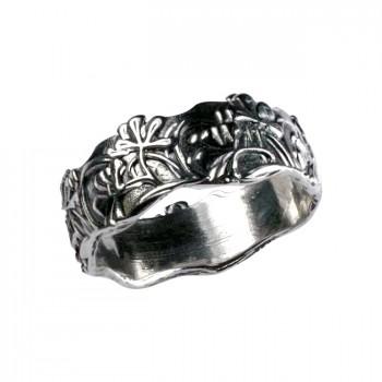 ФЛОРА резное серебряное кольцо