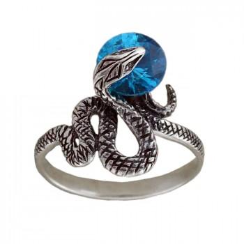 АНАКОНДА серебряное кольцо с фианитами