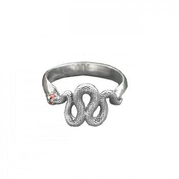 ЗМЕЙКА серебряное кольцо с фианитами